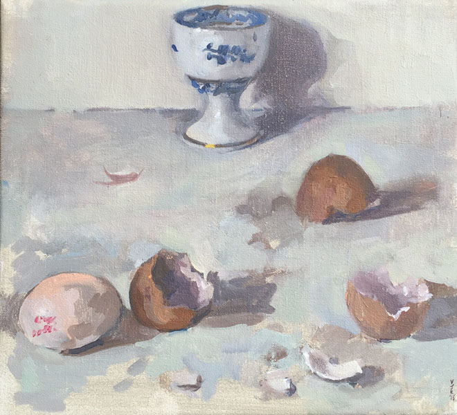 Egg Cup and Broken Shells