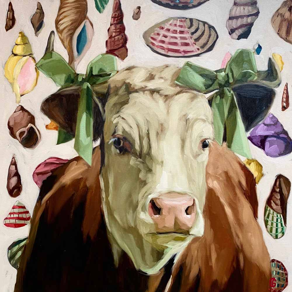 Cow with Green Bows
