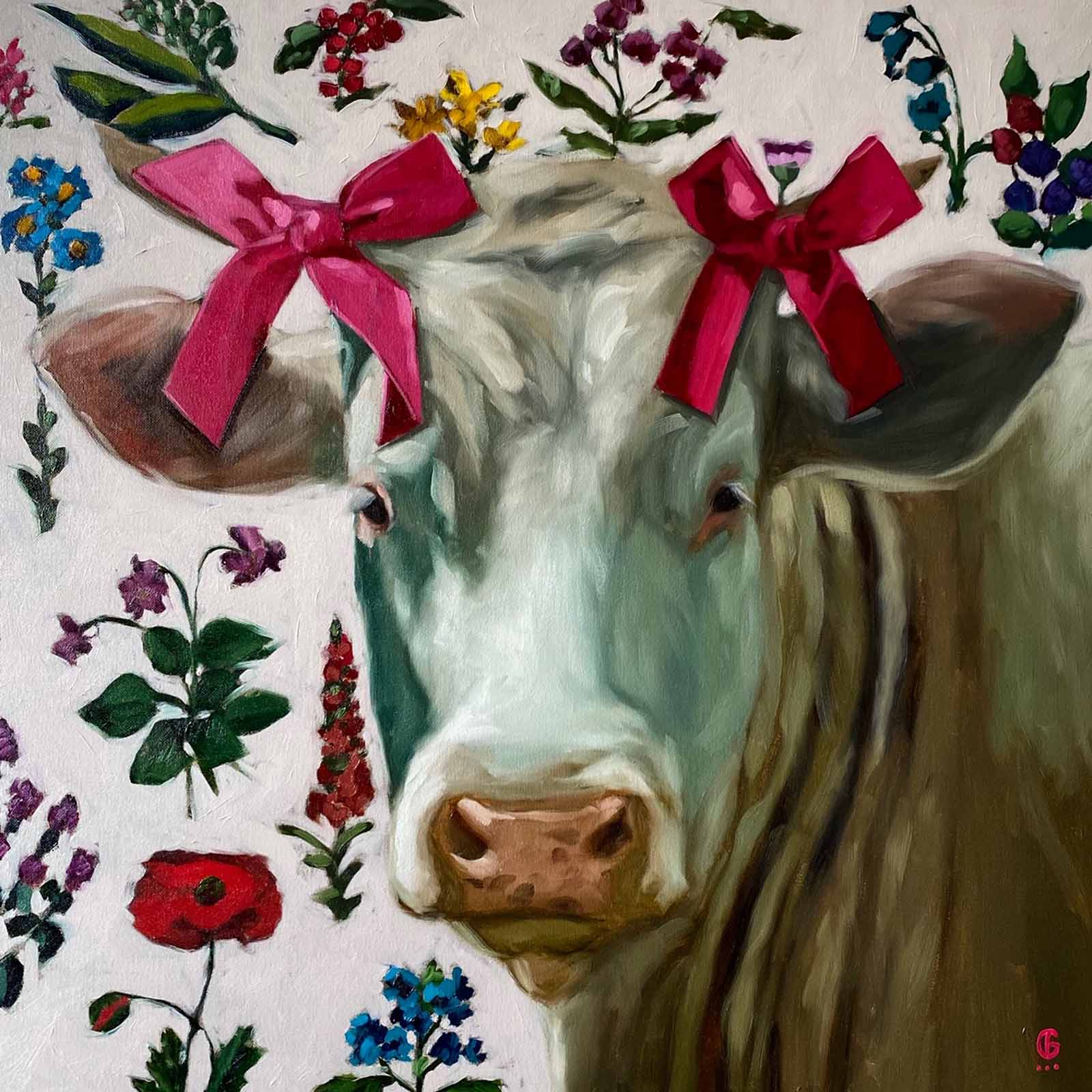 Cow with Pink Bows