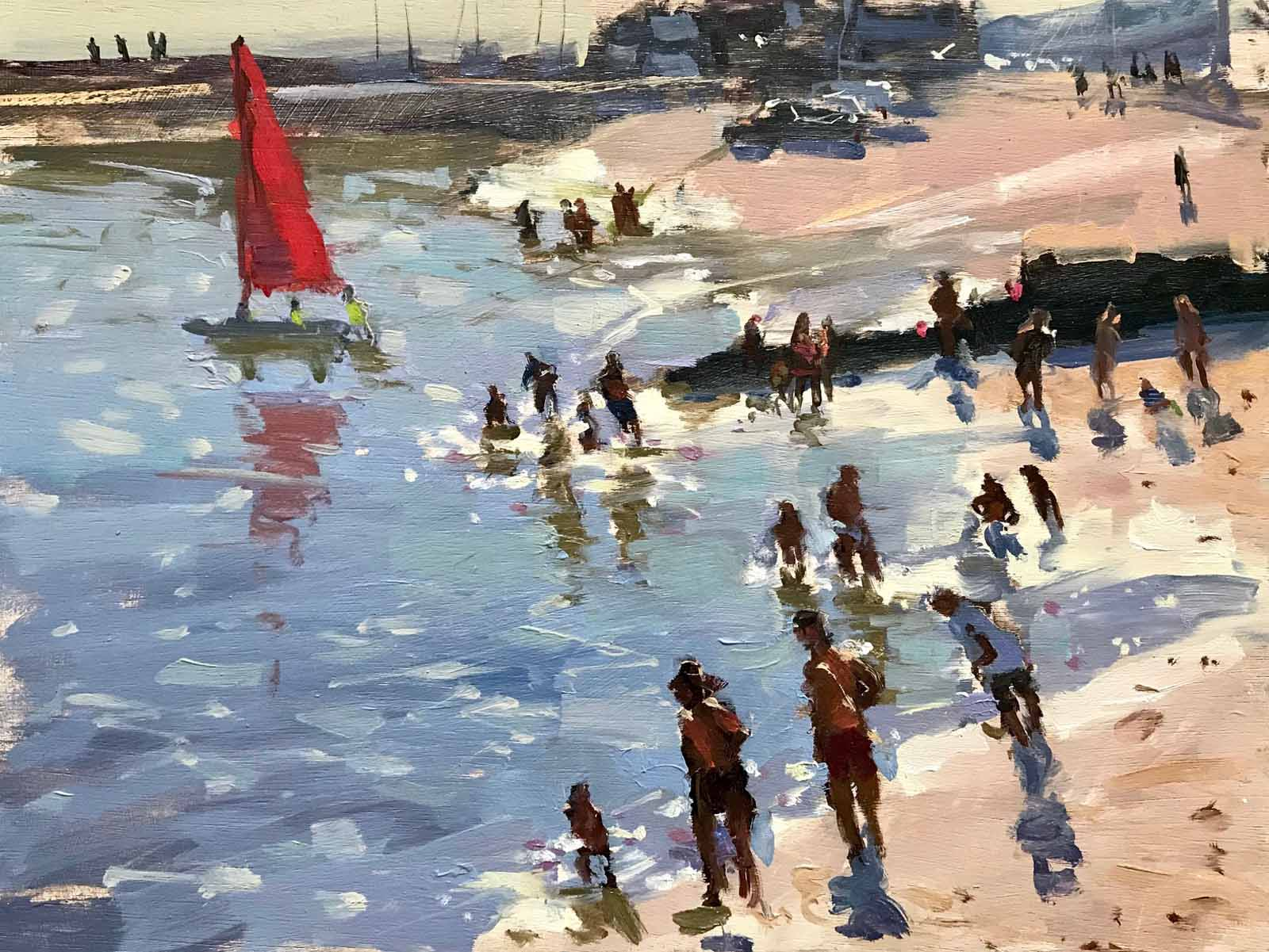 Red Sail and Bathers, Cobb Beach